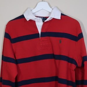 Striped Red Long-Sleeve Polo Shirt
